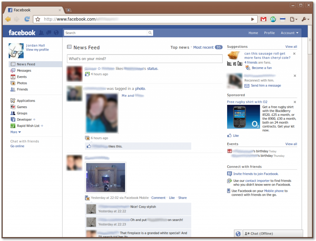 Screenshot of Facebook's new design