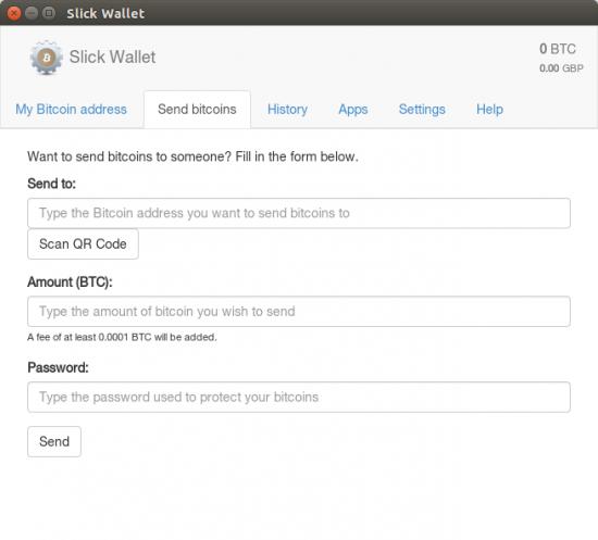 Slick Wallet - Sending bitcoins