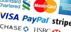 An image of a collection of different payment method companies such as Visa, PayPal and Mastercard