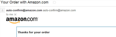 Amazon order confirmation email