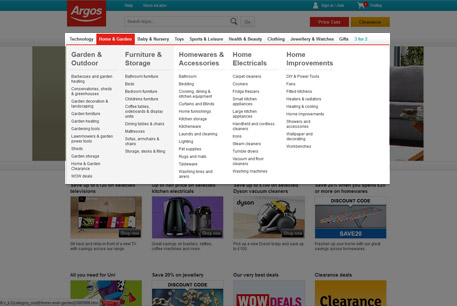 Argos use a dedicated full-width dropdown to help users navigate through categories quickly and easily