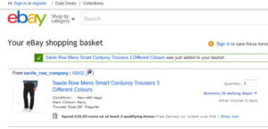 eBay's basket includes all product details, delivery information and discounts/promotions