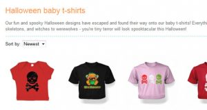 Halloween section of the kids tshirt website