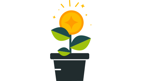 A plant pot with a flower growing. A metaphor for startup businesses growing in size.