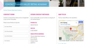 TVRA contact page, with form, other methods and map